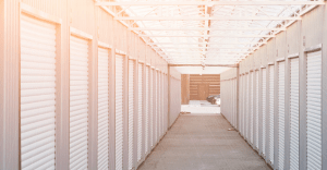 Large self-storage facility with climate-controlled storage units for protecting items from temperature and moisture.