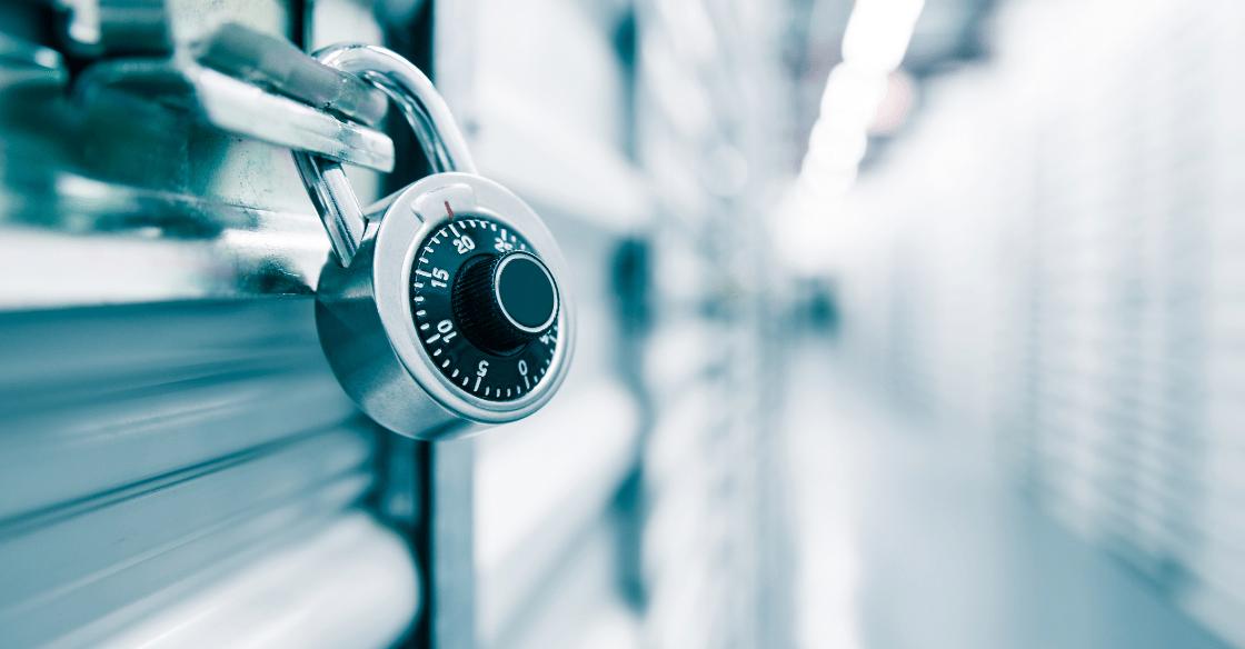 An aluminum lock on a self-storage unit.