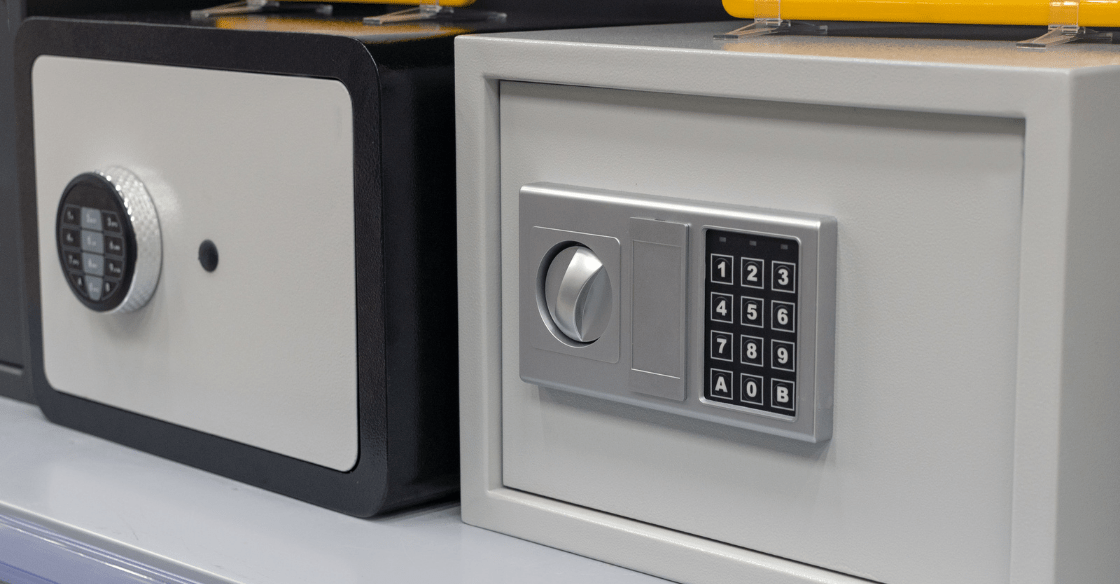 Small metal safes used for safely storing valuables.
