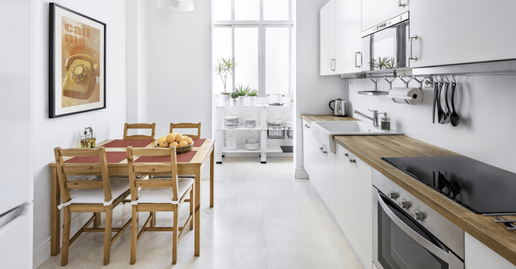 A kitchen in a house that is prepared for an Airbnb.